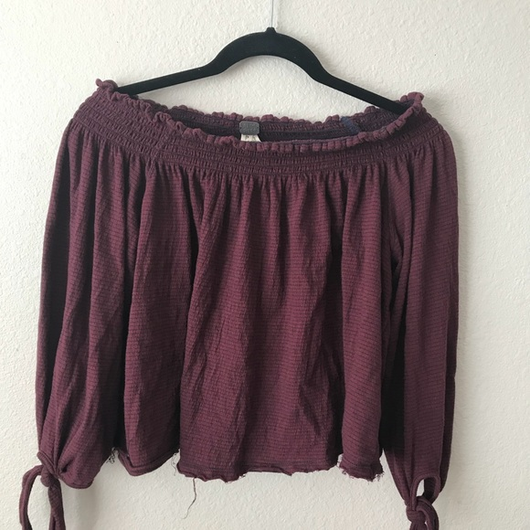 Free People Tops - Free people maroon striped off the shoulder top!